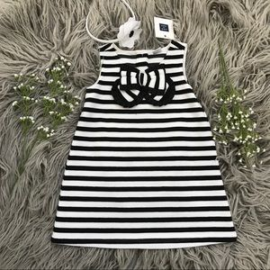 Janie and Jack black and white striped dress NEW!!